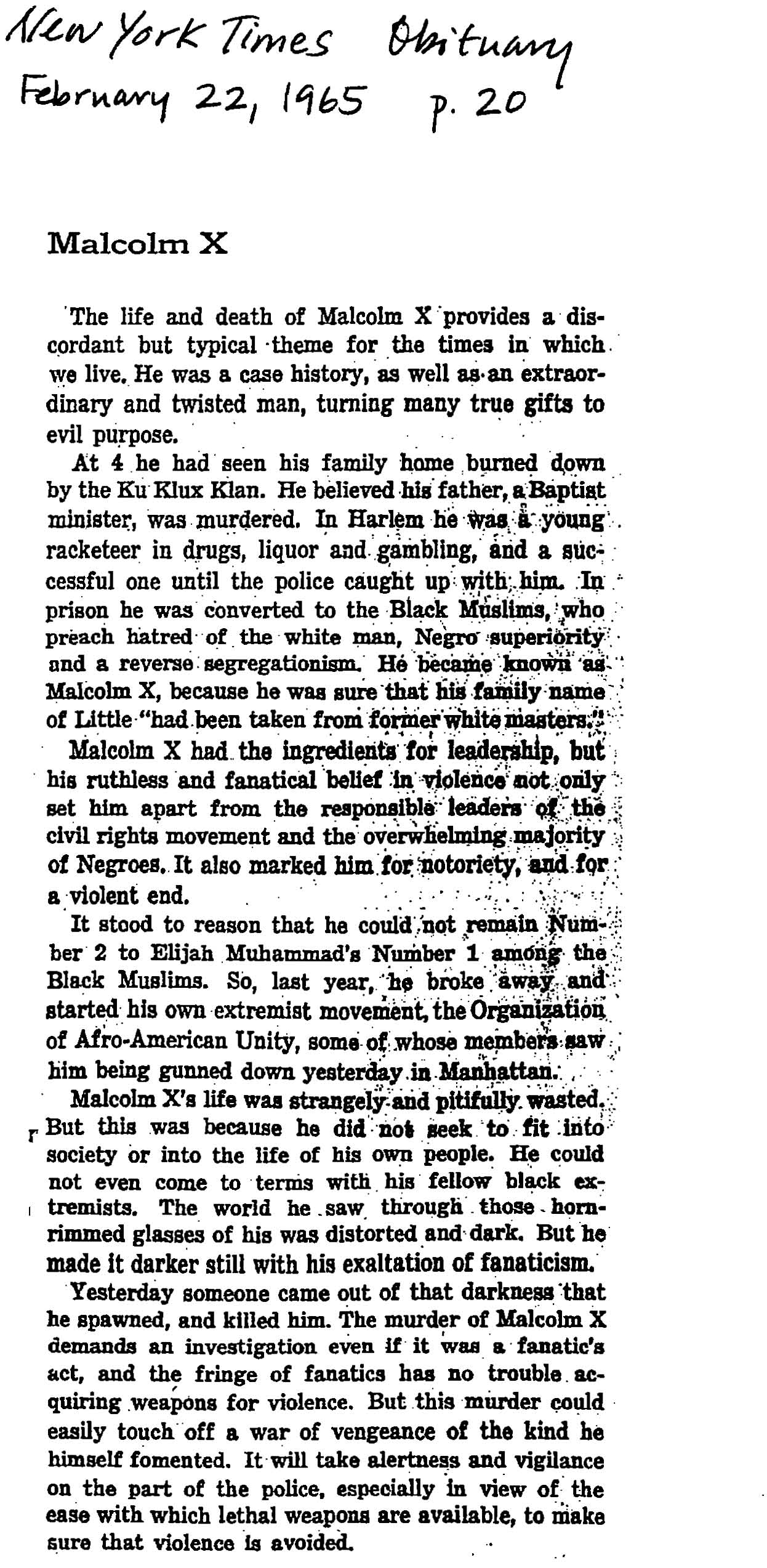 Malcolm X - New York Times editorial, February 22, 1965