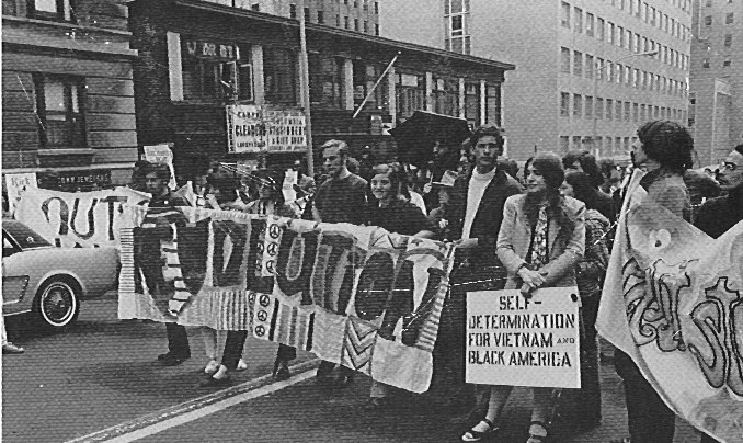 Striking Columbia students marching to City College, 1968