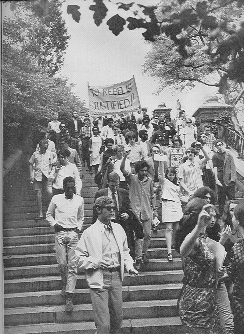 Striking Columbia students entering Morningside Park May 1968