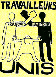 Poster from Atelier Populaire, Sorbonne, 1968 - French and Immigrant workers unite!