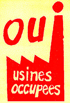 Poster from Atelier Populaire, Sorbonne, 1968 - Yes to the occupied factories!