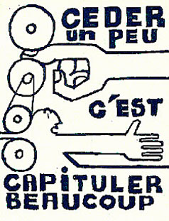 Poster from Atelier Populaire, Sorbonne, 1968 - To give a little is to  surrender