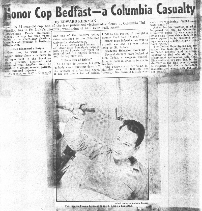 Columbia University 1968 - Officer Gucciardi