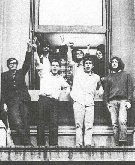 Students occupying the Columbia University President's Office in Low  Library, April 1968