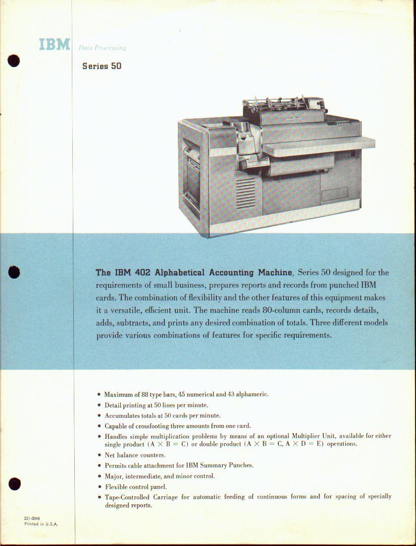The IBM 402 Alphabetical Accounting Machine
