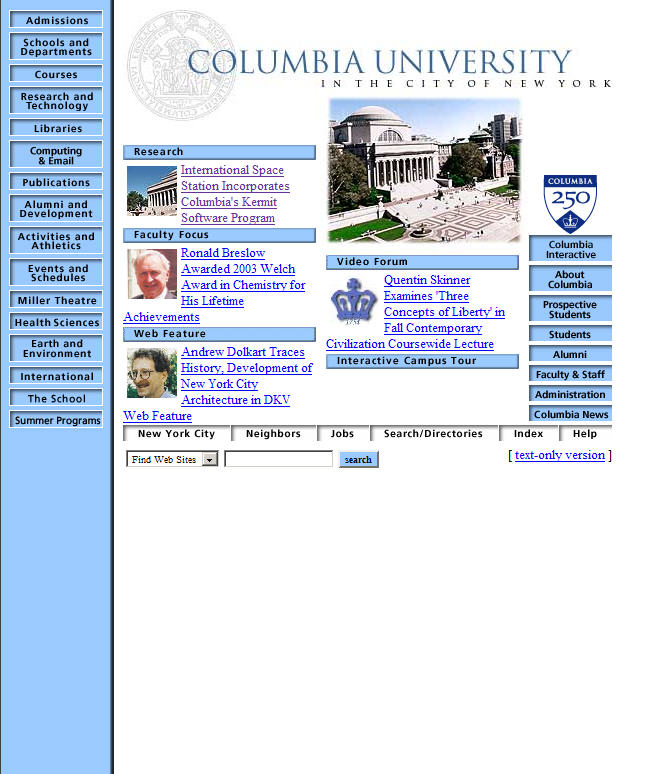 Columbia courseworks old