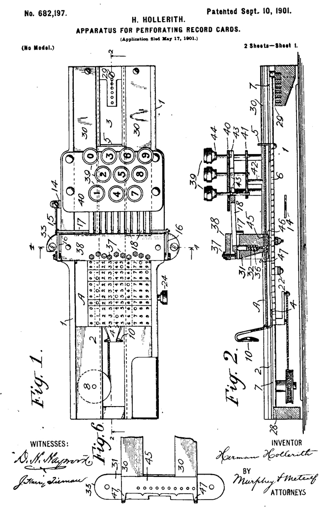 Hollerith's patent on the Key Punch