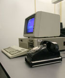 IBM PC/AT with phone and Hayes 1200 modem