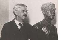 Dewey with a bust by Jacob Epstein