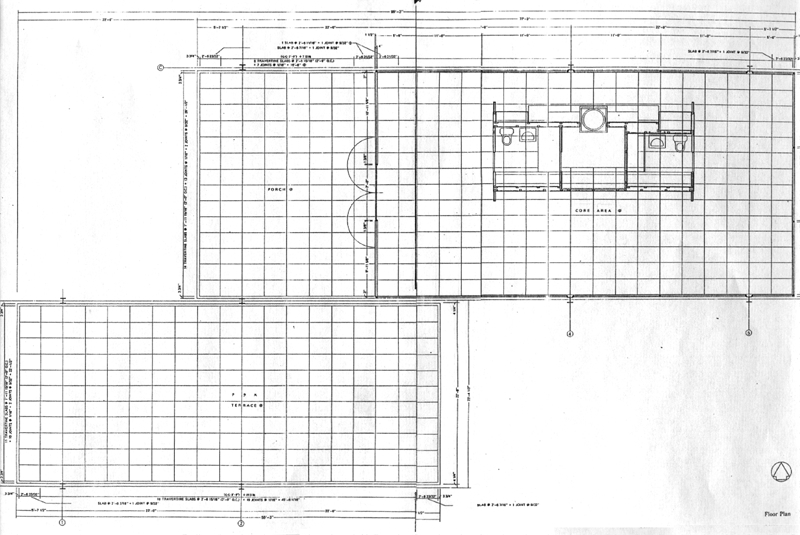 Facsimiles of construction documents for Farnsworth house floor plan