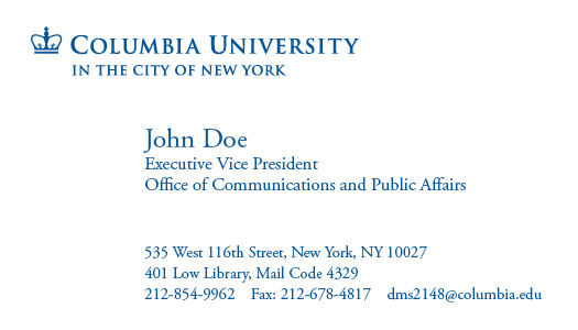 Columbia university web identity guidelines letterhead columbia university web identity guidelines letterhead business cards colourmoves