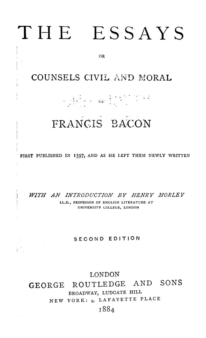 problems with bacons essays Complete summary of francis bacon's essays enotes plot summaries cover all the significant action of essays.