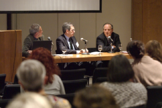 From left to right, moderator Peter Rosenblum and Keynote speakers David Marwell and Juan E. Méndez