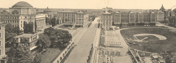 Panoramic view of campus from Broadway, 1913
