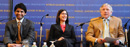 Columbia University President Lee C. Bollinger and students Sashti Balasundaram (Mailman '08) and Melissa D'Agostino (B '08) discuss the impact of young people at a World Leaders Forum event.