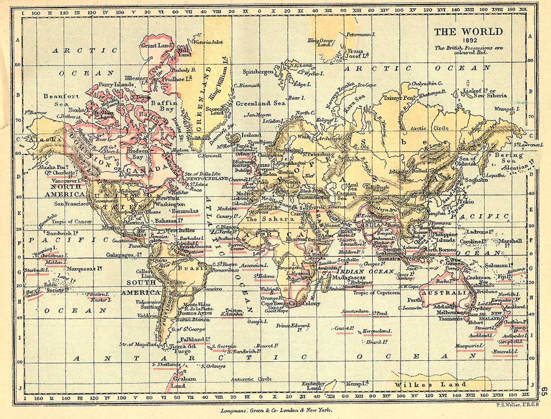 1892 Map Of The World.Gardinerset