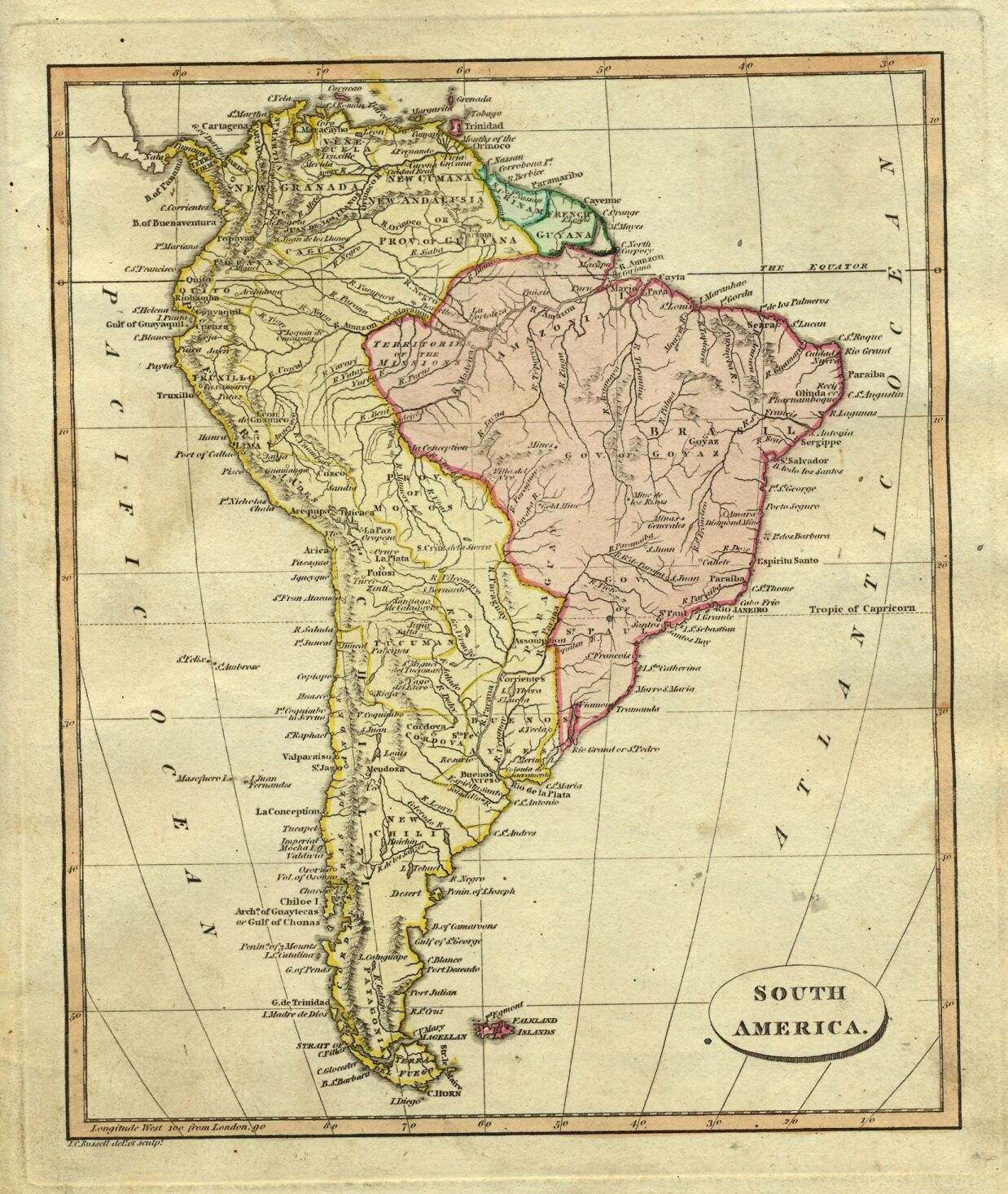 Colonial South America Map.Ostell1814