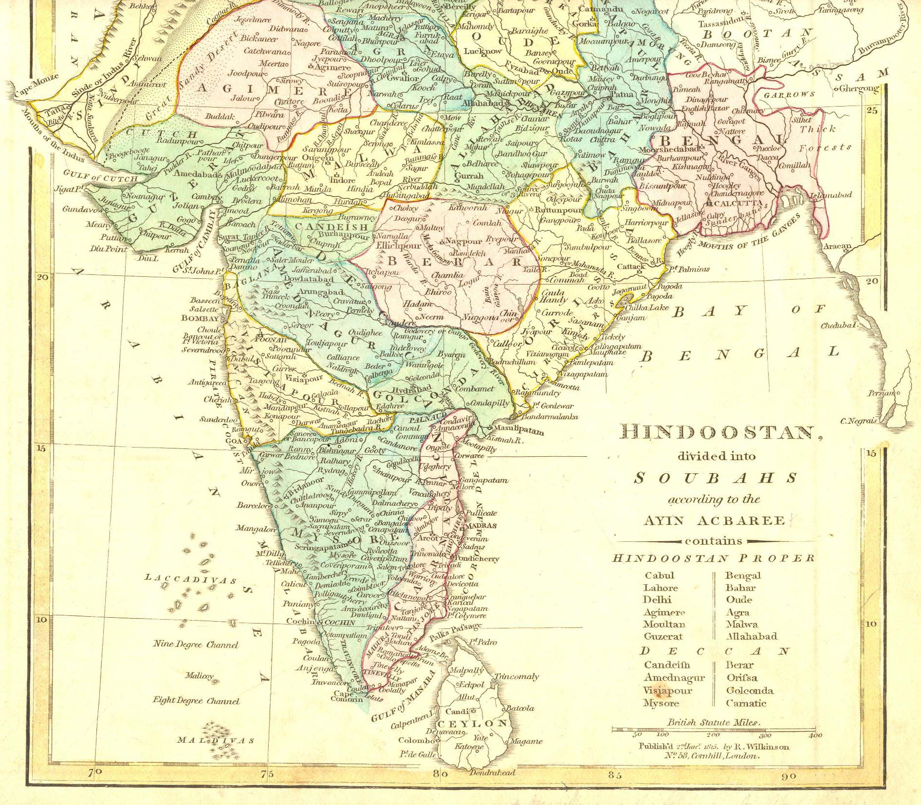 "Hindoostan, divided into Soubahs according to the Ayin Acbaree,"" a ..."