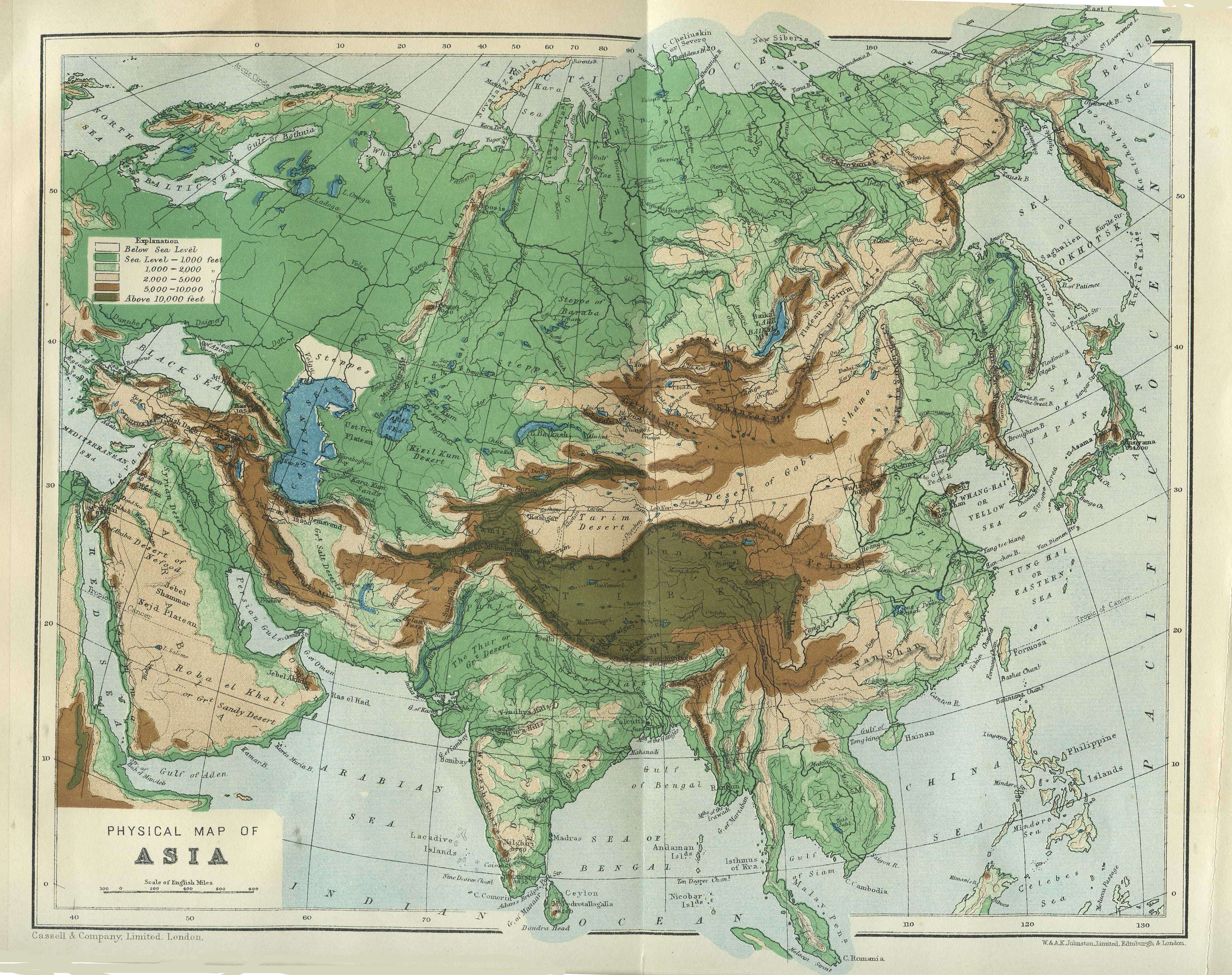 Physical Map Of Central And East Asia.Asiaphysical