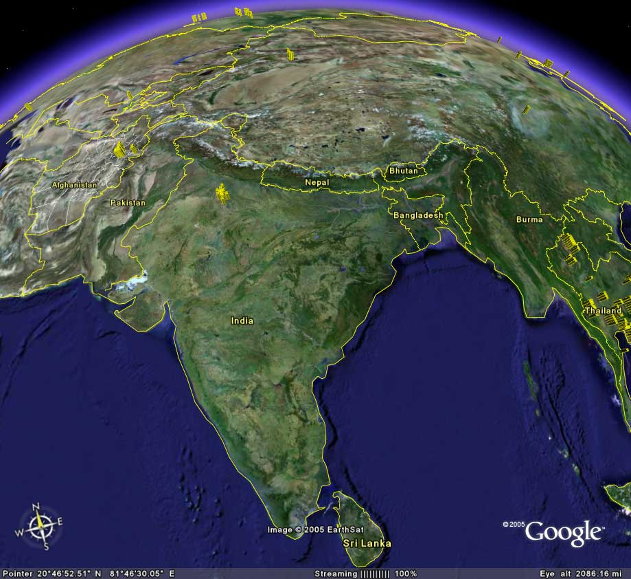 The South Asian tectonic plate pushing into