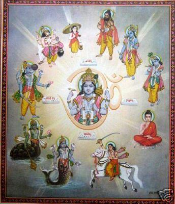 Vishnu surrounded by his avatars (bazaar art, c.1980's); * another ...: www.columbia.edu/itc/mealac/pritchett/00routesdata/0400_0499...