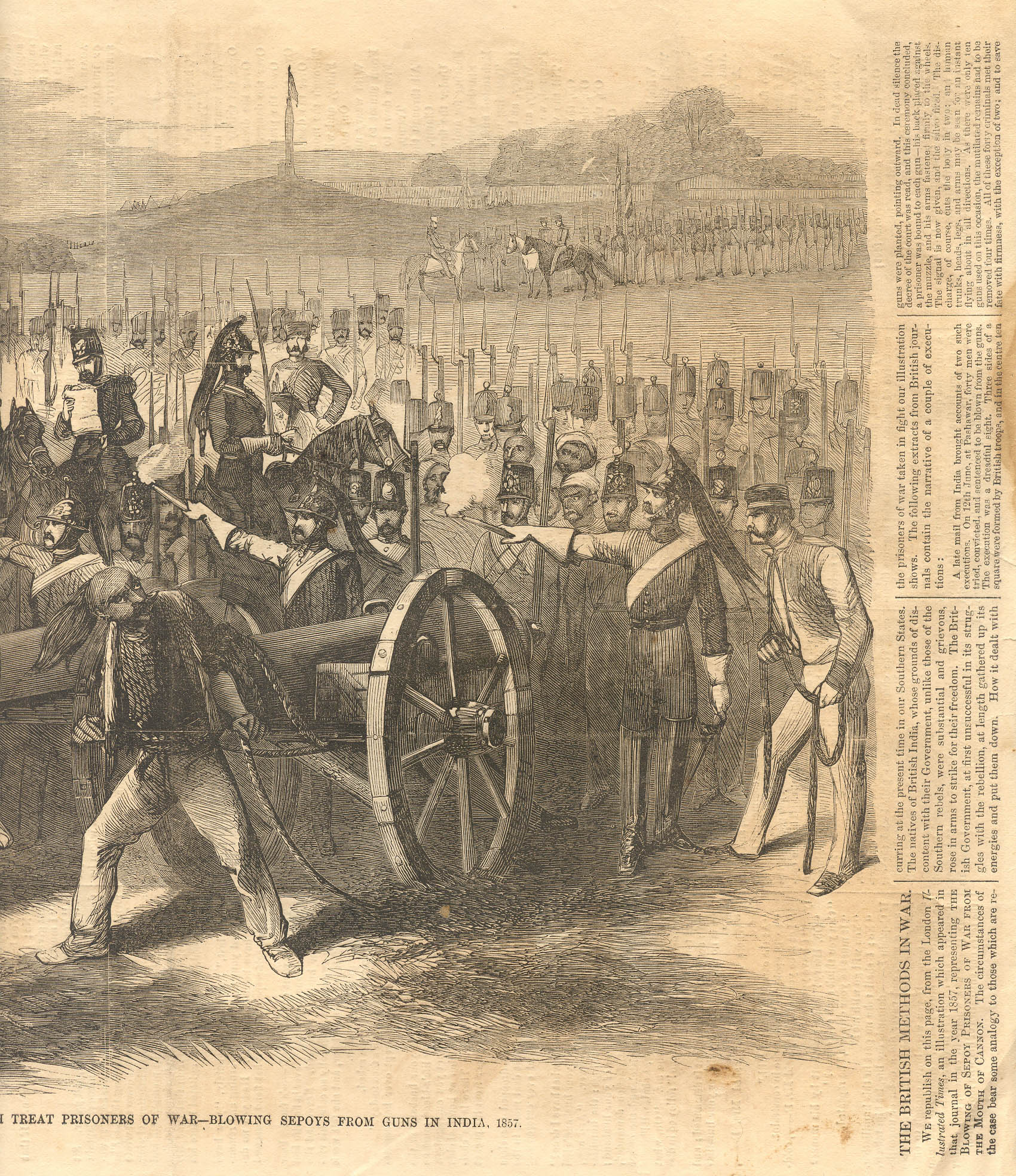 """Blowing Mutinous Sepoys From the Guns, September 8th, 1857,"""" a steel ..."""