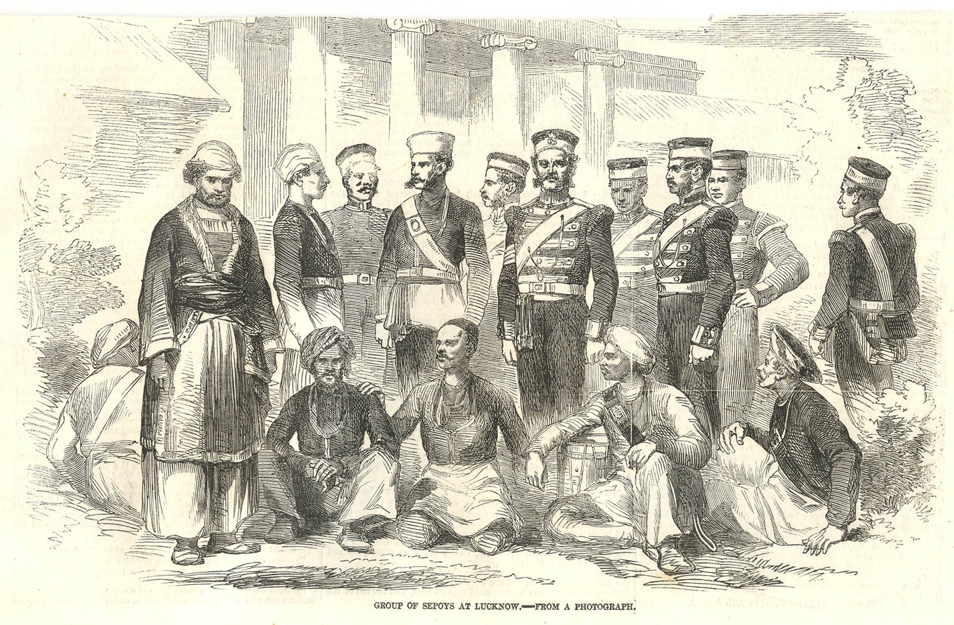 """Group of sepoys at Lucknow--from a photograph,"" from the Illustrated  London News, Oct. 1857; click on the image for a very large scan"