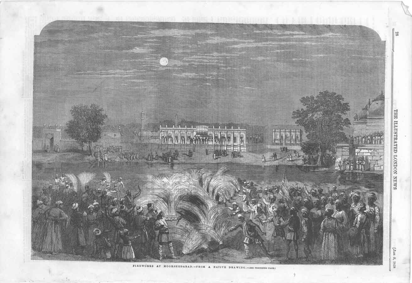 "Fireworks at Moorshedabad, from a Native Drawing"" *, 1858"