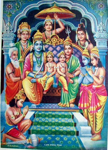 rama and sita. Rama and Sita enthroned with