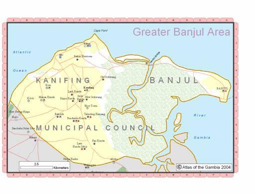 Figure 1. GreaterBanjul Area. Yellow representing urbanized area.