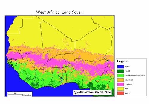 West africa major vegetation and land cover types in west africa source global land cover 2000 database european commission joint research centre ccuart Images