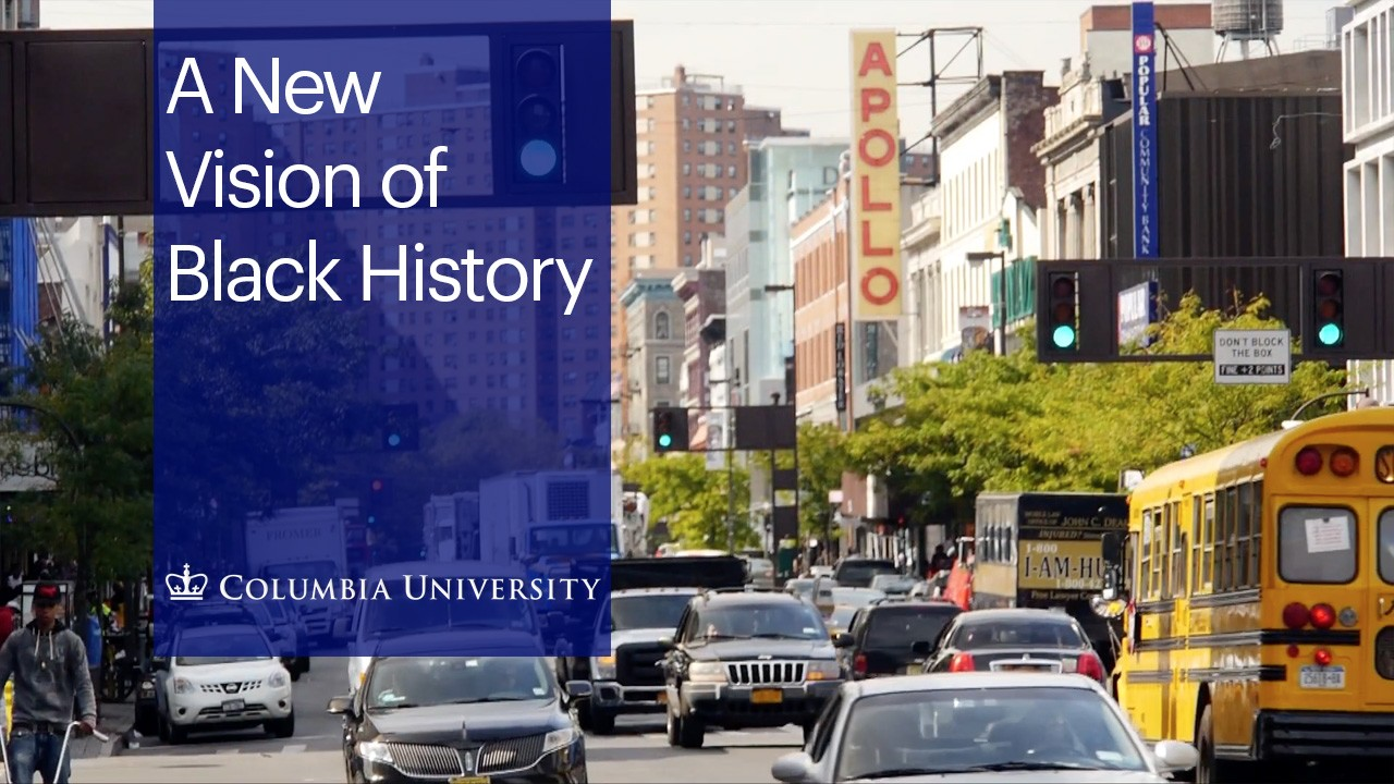 "Photo of a bustling Harlem Broadway scene with the text ""A New Vision of Black History"""