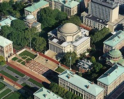 Low library and campus from above
