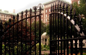 Gates opening into the quad