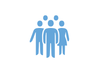 Pale blue and white icon with silhouettes of five people standing together