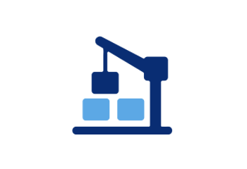 Two-tone blue and white icon of a construction crane