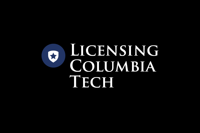 "The words ""Licensing Columbia Tech"" in white letters on a black background, next to a white shield with a navy blue star on it"