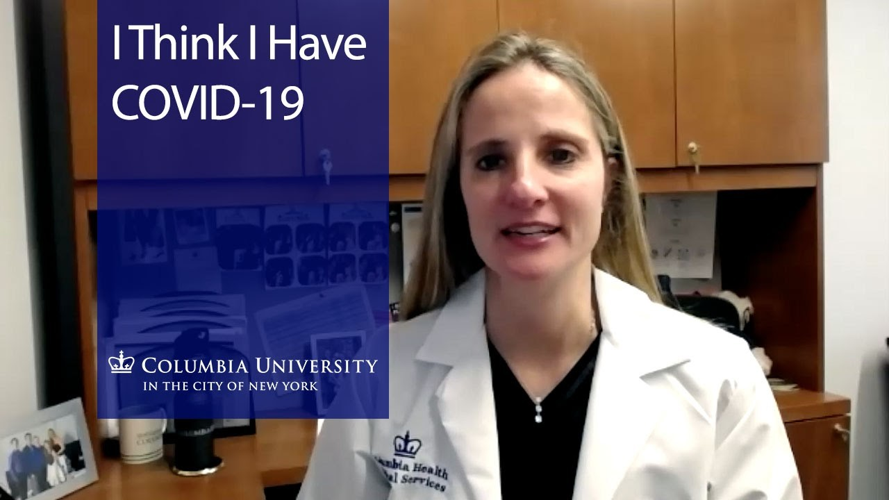 "Dr. Bernitz in a white lab coat next to a blue overlay with the text ""I think I have COVID-19."""