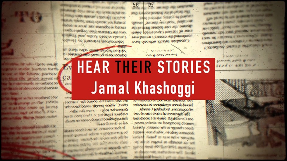 "A newspaper with a red block on top showing the words, ""Hear Their Stories: Jamal Khashoggi."""