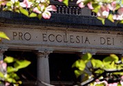 "The words ""Pro Ecclesia Dei"" appear on the frieze of Low Memorial Library"