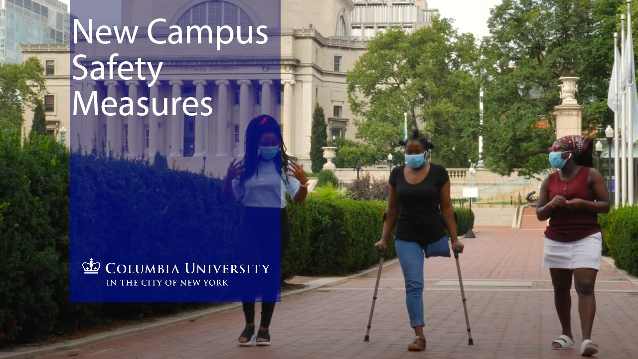 Three students walking through Columbia's Morningside campus
